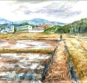 冬枯れの田園風景(水彩)