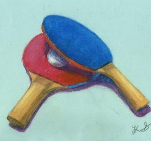 卓球ラケット(オイルパステル)