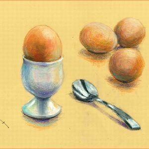 ゆで玉子とエッグスタンド ( オイルパステル画 )
