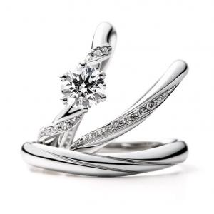 永久無料保証! 小川をイメージしたウェーブラインの婚約指輪・結婚指輪 雅-miyabi-表参道店