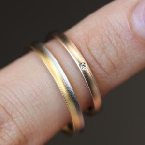 2種類のお素材を使用した細身のご結婚指輪【三世の絆】 雅-miyabi-