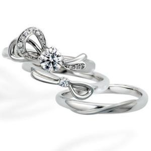 重ねると大きなリボンが完成する可愛いデザインの結婚・婚約指輪♡