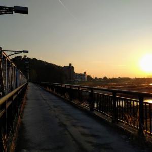 渡良瀬橋で見る夕陽2020 〔栃木県足利市〕