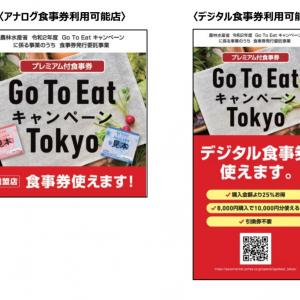 【Go To Eat キャンペーンTokyo】プレミアム付食事券ゲット!