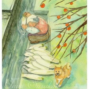 絵画販売・水彩・原画「おばあちゃんと柴犬」