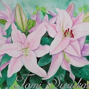 絵画販売・水彩画・原画「百合の花」