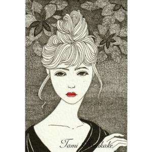 ペン画「お団子ヘアーの女性」