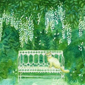 絵画販売・水彩画・原画「水彩・原画「庭の白猫と白いベンチ」