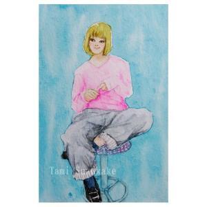 絵画販売・水彩画・原画「椅子に座る女の子」