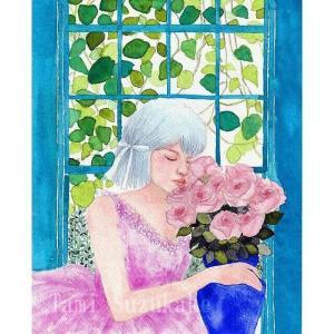 絵画販売・水彩画・原画「窓辺の少女と薔薇の花」