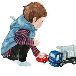 水彩画「男の子とはたらく車」