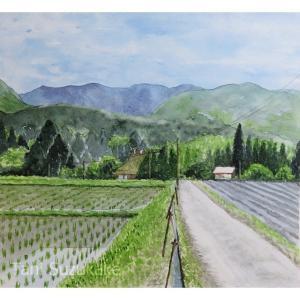 透明水彩メイキング「田んぼのある風景・京都、南丹市」