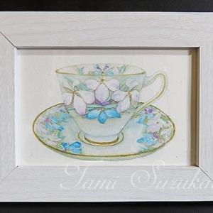 絵画販売・額付き水彩・原画「花柄のティーカップ」