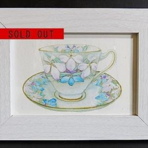 SOLDOUT・額付き水彩・原画「花柄のティーカップ」