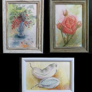 絵画販売・額付き水彩画・原画「花と花瓶」「薔薇の花」「アケビの実」 ☆ハンドメイドマーケット
