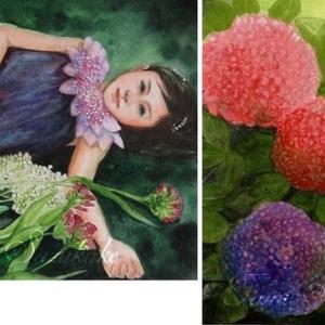 絵画販売・水彩画・原画「紫陽花と少女」「紫陽花」