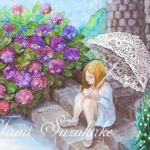 絵画販売・水彩・原画「紫陽花と白いパラソル」