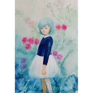 絵画販売・水彩・原画「薔薇と少女」