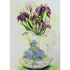 絵画販売・水彩・原画「カキツバタと薔薇の花瓶」