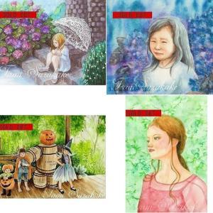 SOLDOUT・水彩・原画「紫陽花と白いパラソル」 他3点