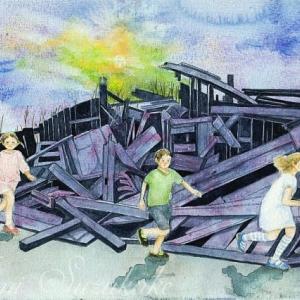 絵画販売・水彩・原画「走る子供」