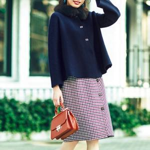 宮田聡子さん風♪カーデ以上コート未満のお勧めアウターとチェックスカートのコーデ♪