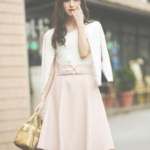 レッセパッセのニュアンスリボンフレアースカートが可愛すぎる♪エレガントなウエストスカート♪
