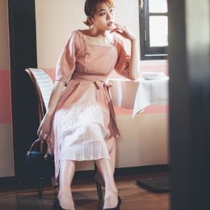 松井愛莉さん着用「ピンク×プリーツ」の主役級ワンピースでよそ行きコーデ♪