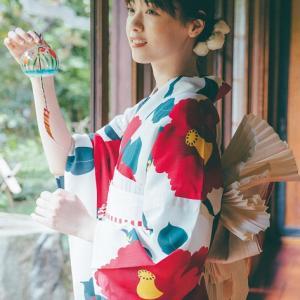 【 #西野七瀬 さんの夏浴衣2021】大胆な椿が全体に配置された柄かわゆい★