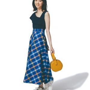 【半額】#西野七瀬さん風コーデ♪ チェック柄ロングスカート着回し♪!