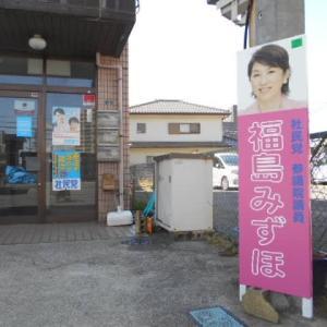 「福島 みずほ」の看板の取り付けと社会新報配達