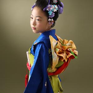七五三7歳爽やかな青色のお着物でご撮影! 狛江市世田谷区喜多見フォトスタジオリーフ