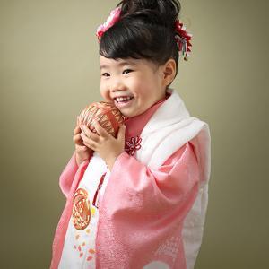 三歳ピンクの正絹お着物レンタル七五三♪|狛江市世田谷区喜多見フォトスタジオリーフ