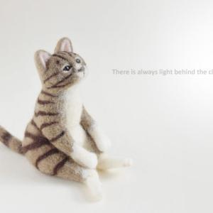 【プリントして使えるポストカード画像】羊毛フェルトの猫