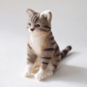 猫(座りポーズ)/羊毛フェルト