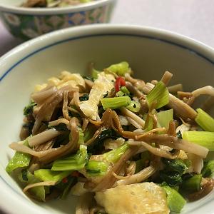 冷凍(小松菜・ブラウンエノキ・油揚げ)の炒め物♪