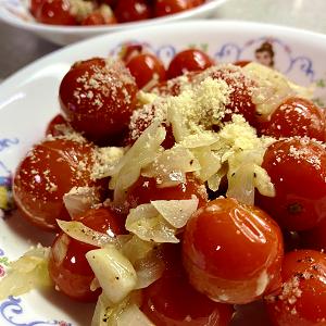 ミニトマトのガーリックオリーブオイル炒め♪