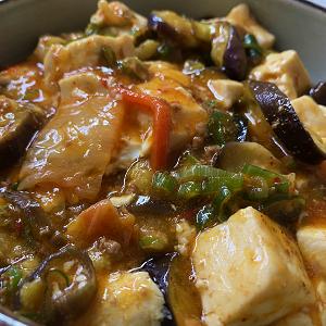 ナスとキムチを入れて麻婆豆腐&新生姜の大葉味噌和え♪