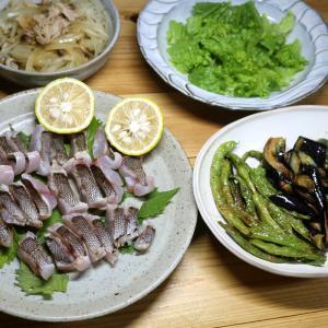 八幡浜近海産イサキの皮焼き・自家栽培カボス添え、自家栽培インゲン・ナス・ピーマンの揚げ浸しほか。