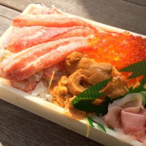 いよてつ高島屋「北海道展」で購入した札幌蟹工船さんの「北海三昧弁当」(カニ・イクラ・ウニ弁当)。