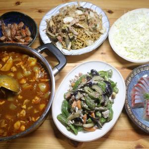 自家栽培ジャガイモ・タマネギ・ミニトマト入りカレー、自家栽培ナス・ピーマンの炒めものほか。