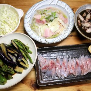 自家栽培ナス・ピーマン・インゲンの揚げ浸し、八幡浜近海産イサキの刺し身、ジコイカの煮つけほか。