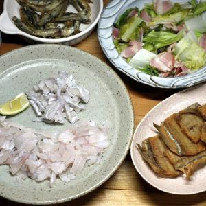 八幡浜近海産タチウオの刺し身と骨せんべいほか。