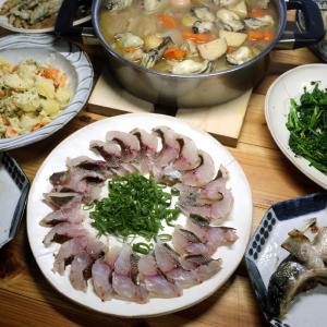 愛南町・久良漁協の養殖寒ブリのカマ焼き、宇和海産天然イサキの刺し身、愛南町産牡蠣入りおでんほか。