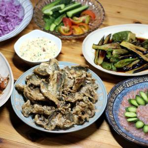 八幡浜近海産アジのから揚げ・自家製タルタル添え、アカエビの刺し身、夏野菜の揚げ浸し・サラダほか。
