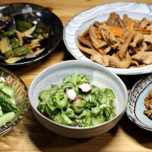自家捕りマダコと自家栽培キュウリの酢のもの、自家掘りタケノコの煮もの、自家栽培夏野菜の揚げ浸し他