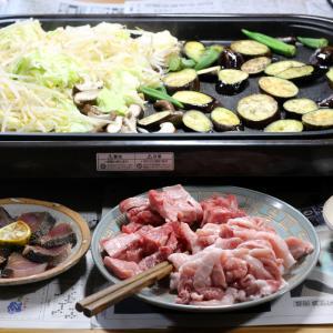 自家栽培ナス・オクラ入りおうち焼き肉。