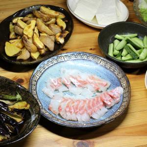 自家栽培ナスとオクラの揚げ浸し、自家栽培キュウリ、自家栽培ジャガイモのベークドポテトほか。
