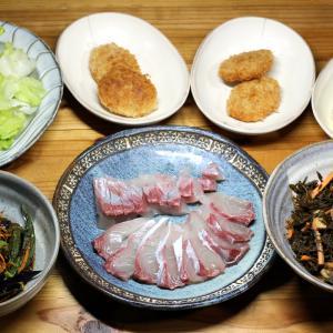 八幡浜近海産カンパチの刺し身、自家栽培ナス・オクラの揚げ浸し、自家採取ヒジキの煮ものほか。