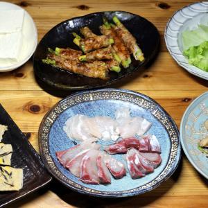 八幡浜近海産カンパチの昆布締め、自家採取ヒジキ入り玉子焼き、アスパラの肉巻きほか。